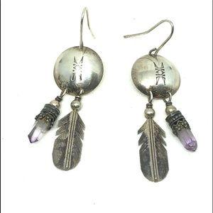 Sterling Concho Feather & Amethyst Earrings LHTC